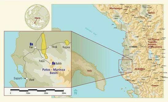 Na karti: naftno polje u Albanji  - izvor:  http://www.energy-pedia.com