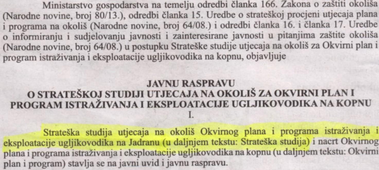 Znakovita greška Ministarstva gospodarstva: Objavili oglas o javnoj raspravi o bušenju kopna, a napisali – Jadran