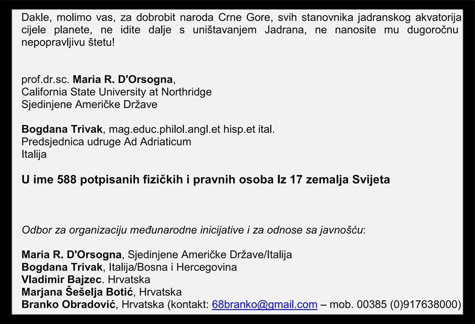 Pismo crnogorskoj Vladi s 588 potpisa: Ne idite dalje s uništavanjem Jadrana!