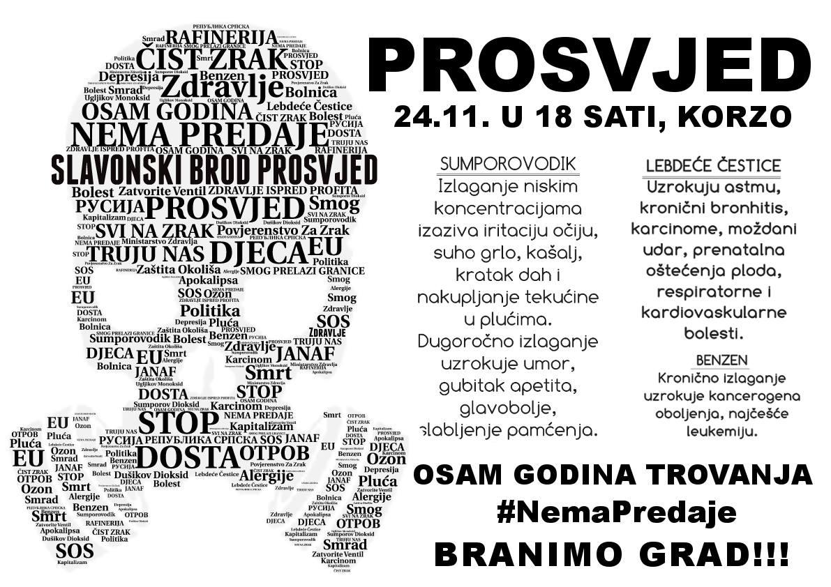 Dosta je! Nema predaje! Veliki prosvjed protiv zagađenja zraka u Slavonskom Brodu
