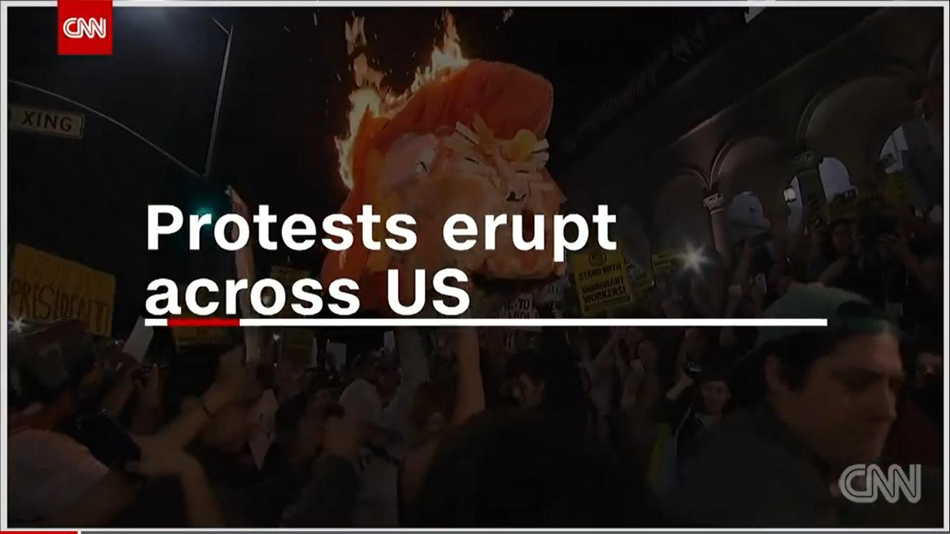 Prosvjedi u SAD-u, pali se lutka... (printscreen CNN)