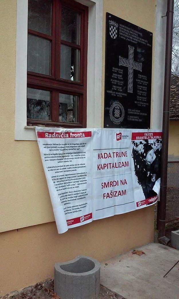 """Radnička fronta u Jasenovcu: """"Kad trune kapitalizam, smrdi na fašizam"""""""