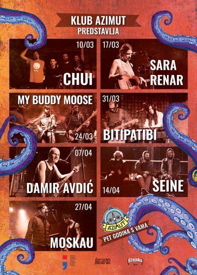 Azimut slavi peti rođendan, dolaze: Chui, Renar, My Buddy Moose, Bitipatibi, Avdić, Seine i Moskau