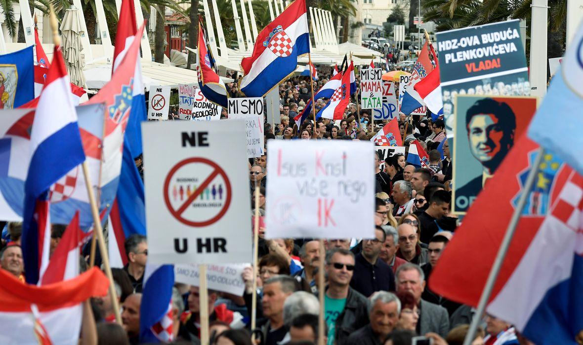 Prosvjed na splitskoj rivi: Protuvladin skup koji je nadišao otpor Konvenciji o sprječavanju nasilja nad ženama