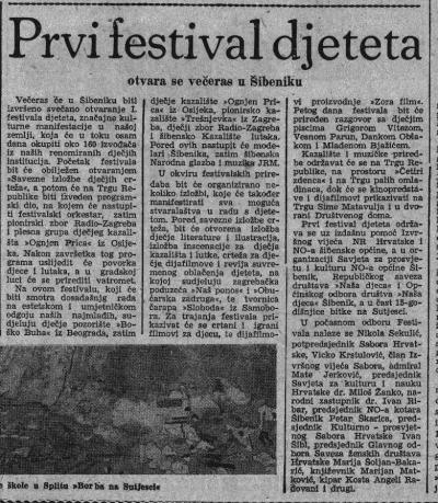 Najava prvog Festivala djetetau Slobodnoj Dalmaciji (printscreen arhiva Slobodne Dalmacije)