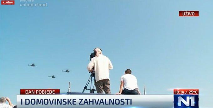 Zrakoplovi i zrakomlati iznad Knina (izvor: N1)