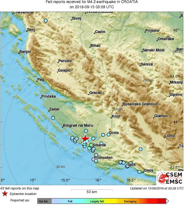 Noćni potresi u Šibeniku i okolici