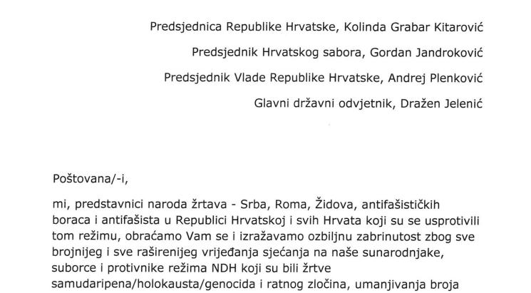 Pupovac, Kajtazi, Kraus i Habulin državnom vrhu: Apel – Tražimo osudu!