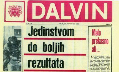 Naslovnica novina koje je izdavalo Dalmacijavino (iz 1980. godine)