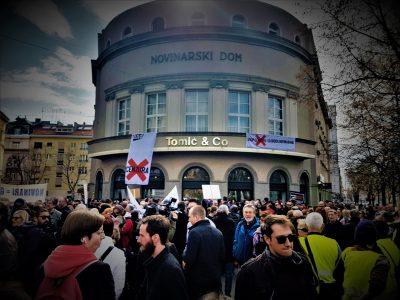Arhiva: Novinarski dom - novinarski prosvjed (foto TRIS/G.Šimac)
