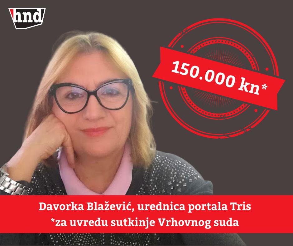 HND: Sutkinja Vrhovnog suda izgubila spor protiv Trisove novinarke Davorke Blažević