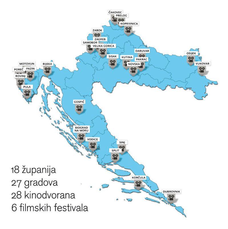 Karta Hrvatske s kinima koja su digitalizirana posredstvom HAVC-a