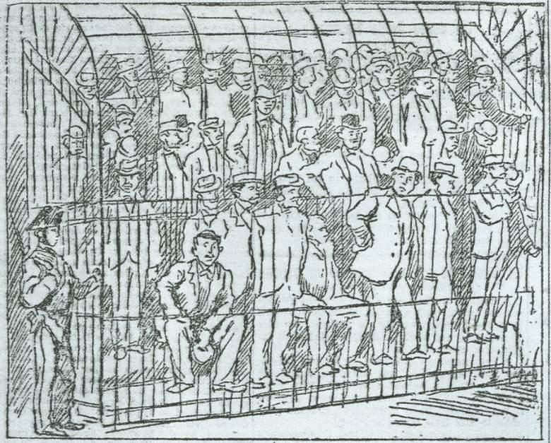 Crtež sa suđenja mafiji u Palermu 1901. godine (izvor: Wikiipedia)