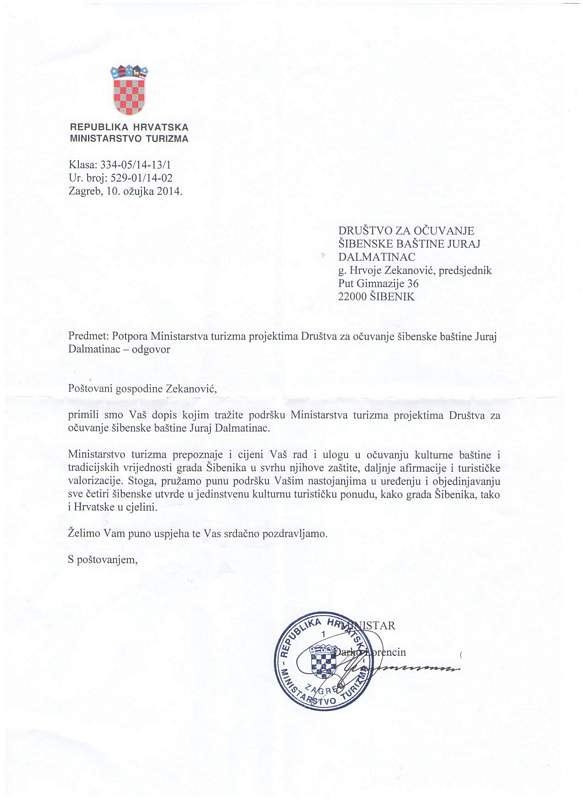 Pismo potpore ministra turizma Darka Lorencina