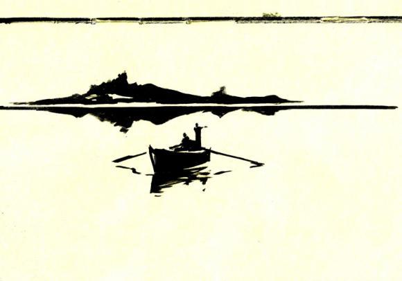 Danijel Žeželj: razglednica - brod, čovjek, more, utiha