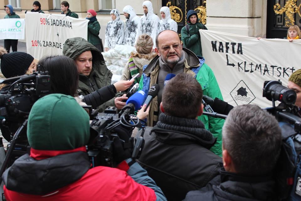Današnji prosvjed ispred Hrvatskog sabora (foto: Facebook Zelena akcija)