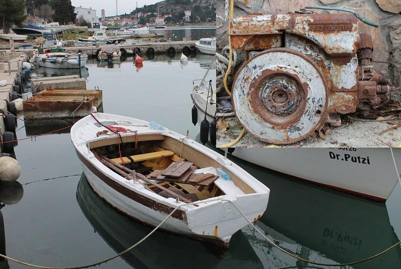 Današnje stanje broda kojim su u potrazi za boljim životom mladići preplovili Jadran - Farriman u uglu fotografije (Foto H. Pavić)