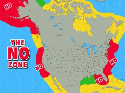 Mapa koja pokazuje kako SAD štiti čitavu svoju obalu, uključujući i Alhjasku (crvena boja označava zabranu istraživanja i eksploatacije nafte)