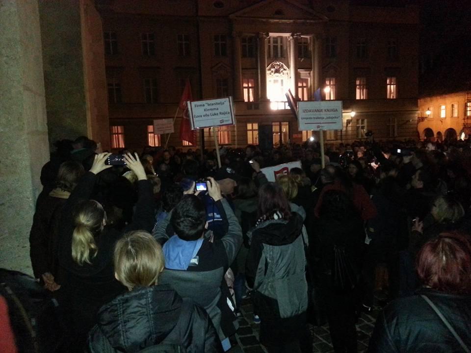 S večerašnjeg prosvjeda na Markovom trgu (foto Facebook)