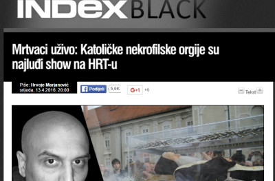 VEM presudio – Indexov tekst 'Mrtvaci uživo:katoličke nekrofilske orgije su najluđi show na HRT-u' nije govor mržnje