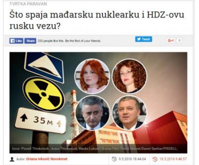 Otkaz novinarki zbog mađarske nuklearke i HDZ-ove ruske veze