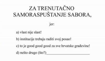 """GONG dijelio """"raspusnice"""" saborskim zastupnicima"""