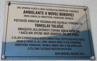 Ilustracija: Spomen-ploča koja je postavljena radi isticanja zasluga T. Tolušiću u obnovi mjesne ambulante (foto Facebook/Radio Slatina)