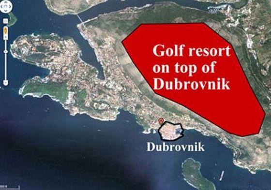 Karta na kojoj se vide razmjeri tzv. projekta u odnosu na Dubrovnik