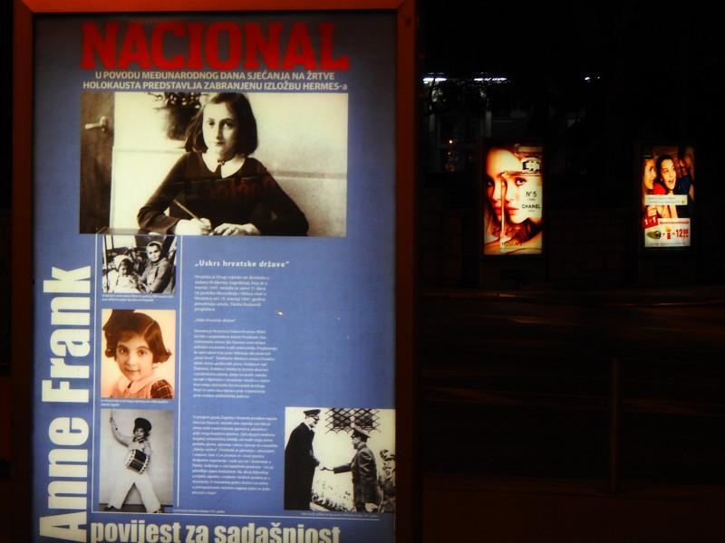 Svjetleća Anne Frank  u Šibeniku (foto TRIS/G. Šimac)