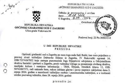Presuda Općinskog građanskog suda u Zagrebu