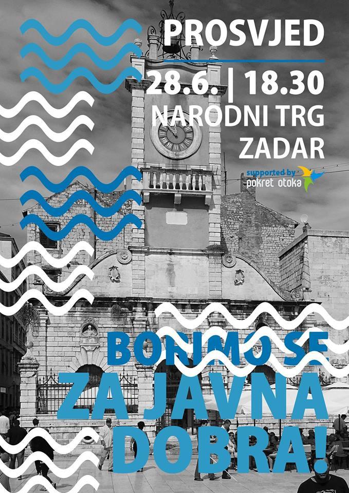 Plažni prosvjed na zadarskom Narodnom trgu u 18.30 sati: Borimo se za javna dobra!