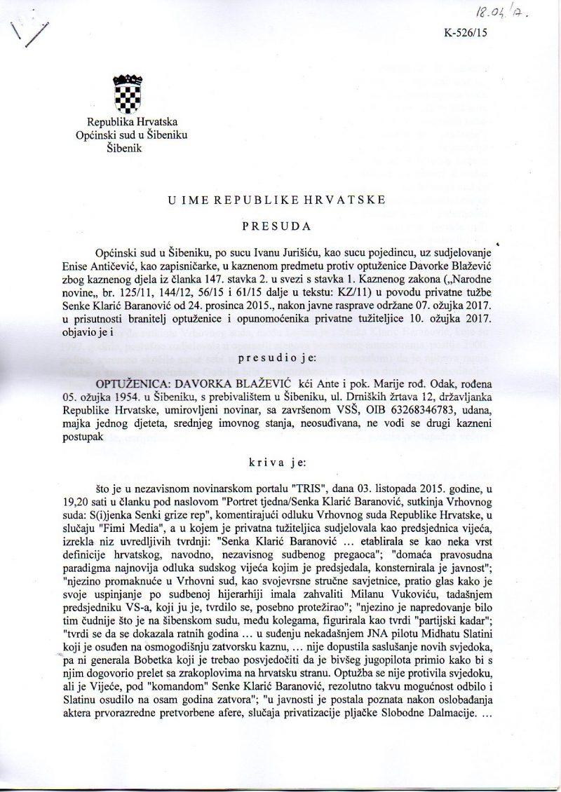 Presuda Općinskog suda u Šibeniku