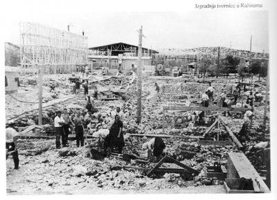 Izgradnja TLM-a u Ražinama - foto: monografije Izgradnja hrvatske aluminijske industrije autora Marija Šmita