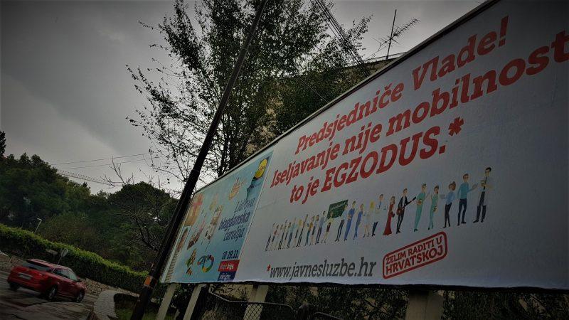 Sindikalno jumbo plakatiranje u Šibeniku (foto TRIS/G. Šimac)