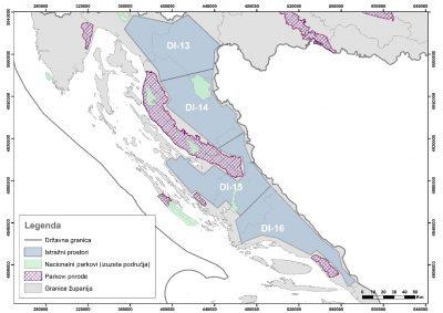 Karta eksploatacijskih  i istraživačkih polja za ugljikovodike koja govori sve... Ostatak Hrvatske je osjenčen već ranije...
