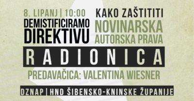 """Prava i kriva: Radionica u šibenskom HND-u""""Kako zaštititi novinarska autorska prava – demistificirajmo Direktivu"""""""