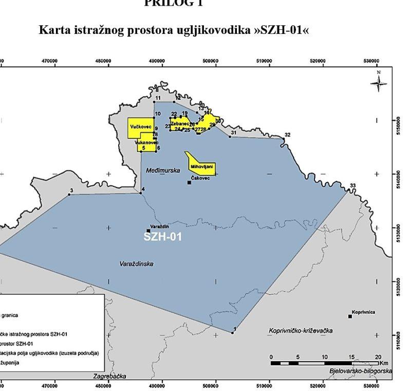 Karta Međimurja kao 'eksploatacijskog polja' iz odluke Vlade RH