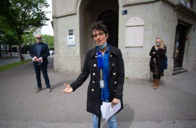 Konferencija za novinare ispred zgrade HND-a (foto HND/Danijel Kasap)