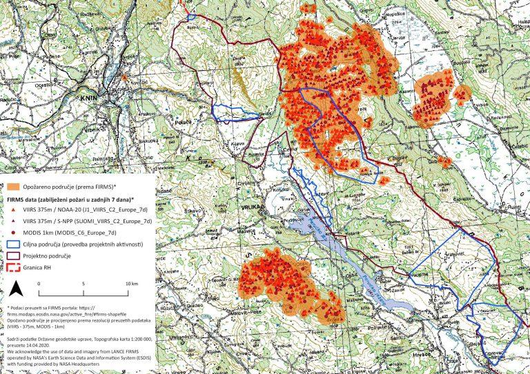Karta nedavnih požara a Dinari
