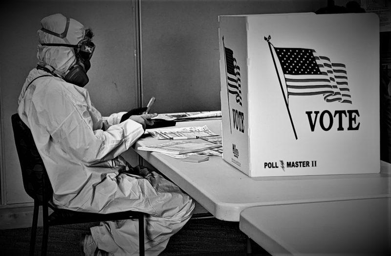 Ilustracija: Glasanje u potpunoj zaštitnoj opremi