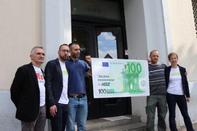 Konferencija za medije zeleno-lijeve koalicije ispred sjedišta HDZ-a