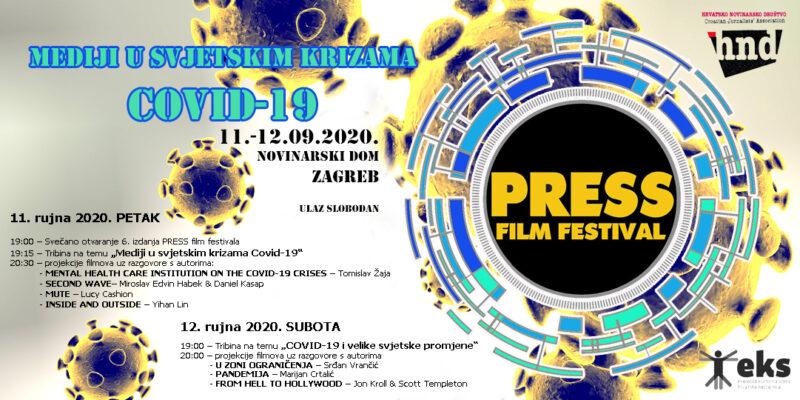"""Besplatno na PRESS film festival u Novinarskom domu s mnoštvom filmova i vrlo aktualnom temom:""""Mediji u svjetskim krizama; COVID-19"""""""