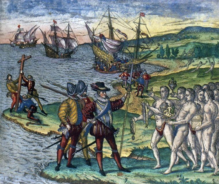 Prizor dolaska Kolumba na Bahame među 'nage i kukavne' koji ga daruju zlatom, kako ga je zamislio Theodor de Brya  i nacrtao 1594. godine