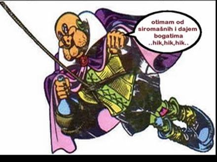 Ilustracija: Superhik - superheroj iz stripa Alan Ford koji otima siromašnima da bi dao bogatima