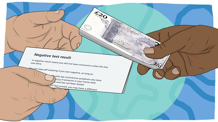 Ilustracija: covid test za novac
