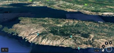 Brač, a iza njega Split - izvor Google Earth printscreen